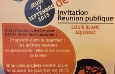 RDV jeudi 17 septembre 2015 au Conseil de quartier Louis Blanc Aqueduc
